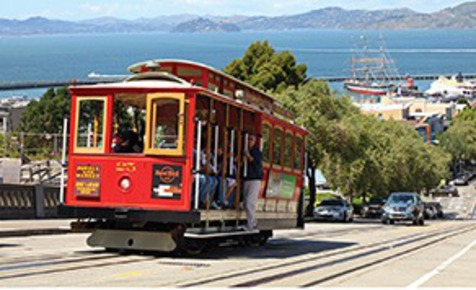 A San Francisco cable car, Nob Hill
